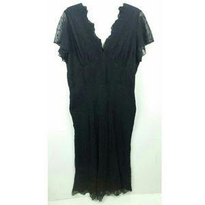 Crossing Pointe Black Eyelet Silk Dress V-Neck